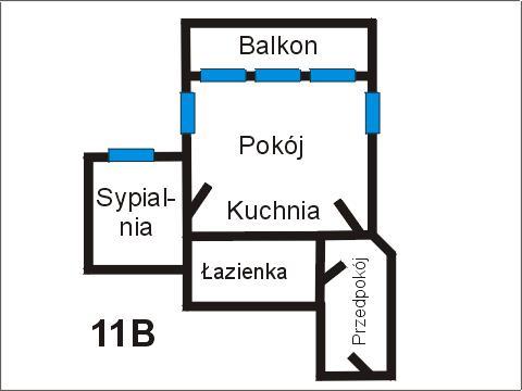 Rzut apratmentu 11B - Albatros Kołobrzeg